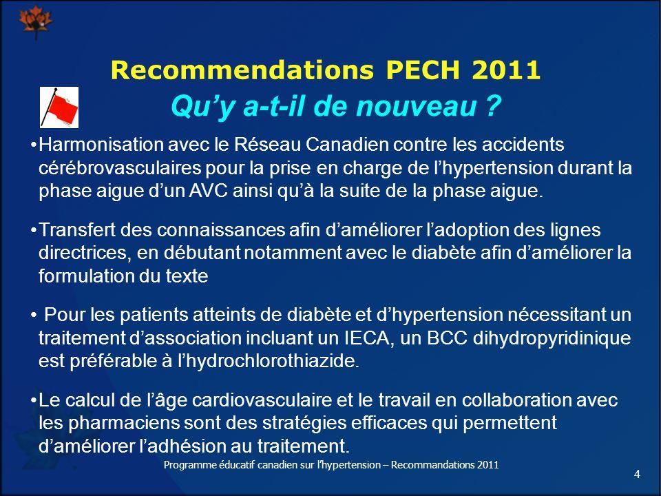 4 Recommendations PECH 2011 Quy a-t-il de nouveau ? Harmonisation avec le Réseau Canadien contre les accidents cérébrovasculaires pour la prise en cha