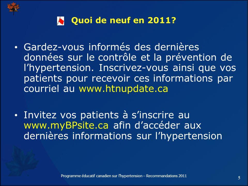 5 Quoi de neuf en 2011? Gardez-vous informés des dernières données sur le contrôle et la prévention de lhypertension. Inscrivez-vous ainsi que vos pat