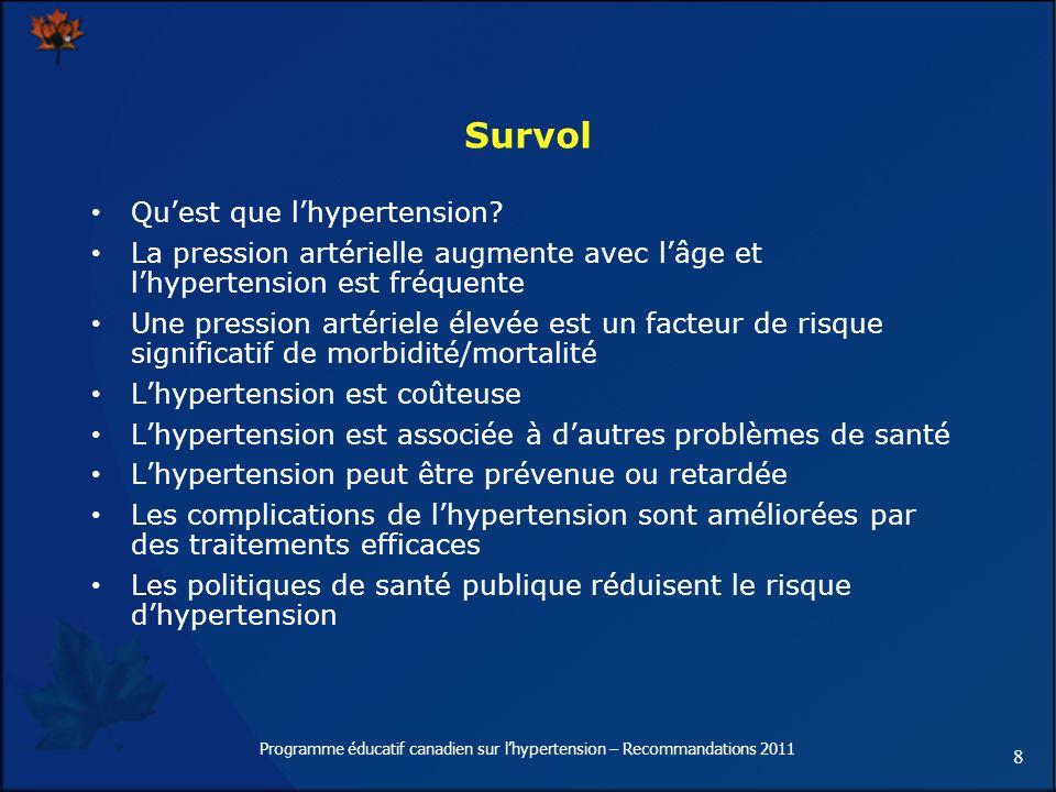 8 Programme éducatif canadien sur lhypertension – Recommandations 2011 Quest que lhypertension? La pression artérielle augmente avec lâge et lhyperten
