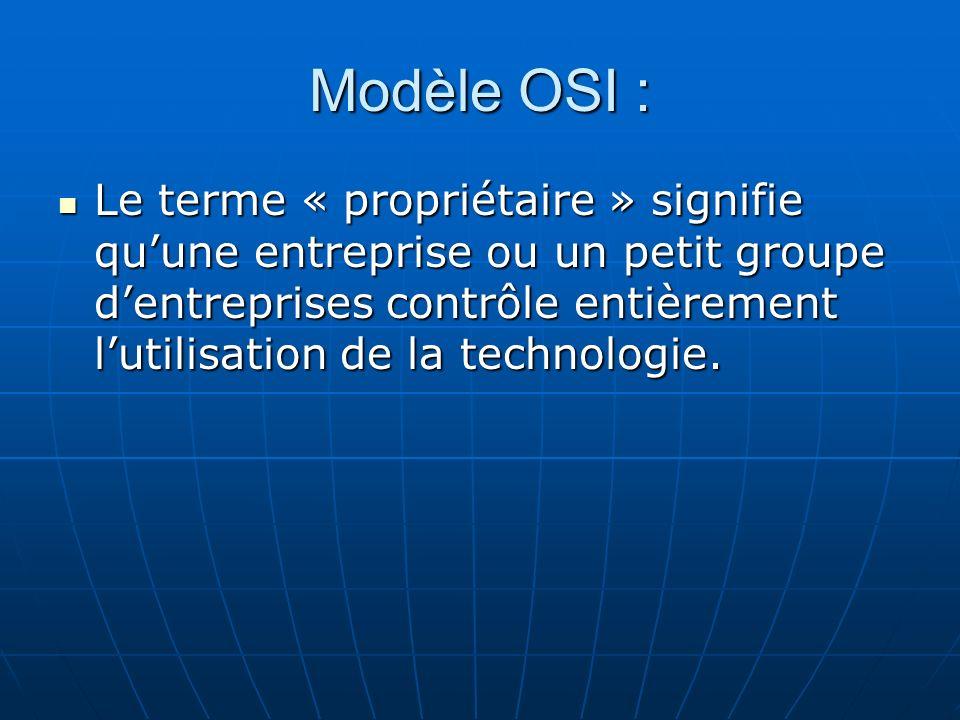 Modèle OSI : Le terme « propriétaire » signifie quune entreprise ou un petit groupe dentreprises contrôle entièrement lutilisation de la technologie.