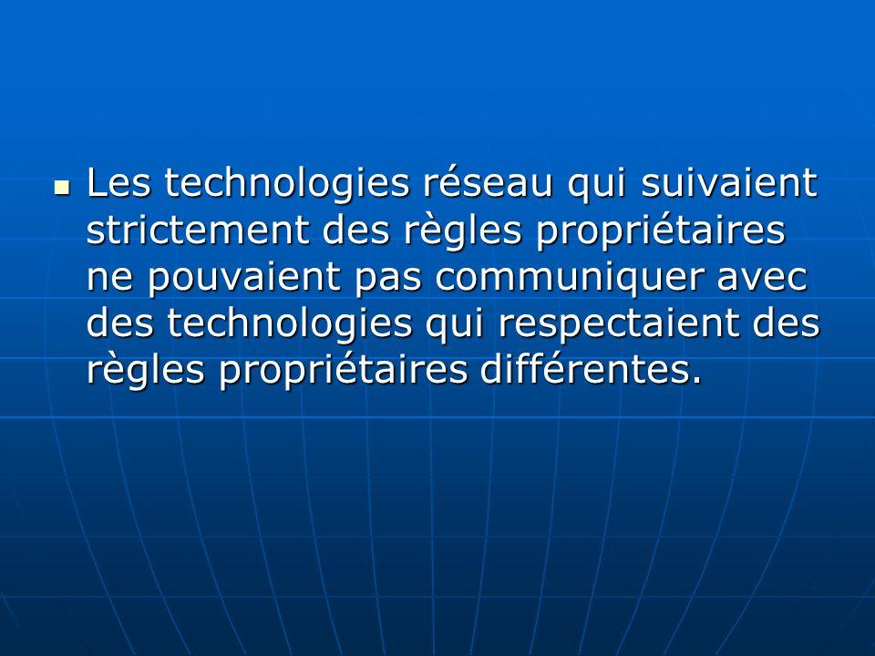 Les technologies réseau qui suivaient strictement des règles propriétaires ne pouvaient pas communiquer avec des technologies qui respectaient des règ