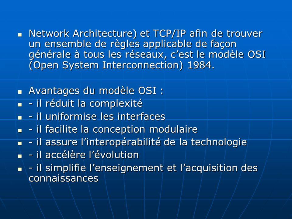 Network Architecture) et TCP/IP afin de trouver un ensemble de règles applicable de façon générale à tous les réseaux, cest le modèle OSI (Open System
