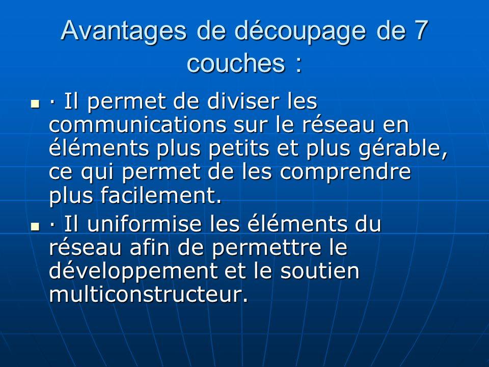 Avantages de découpage de 7 couches : · Il permet de diviser les communications sur le réseau en éléments plus petits et plus gérable, ce qui permet d