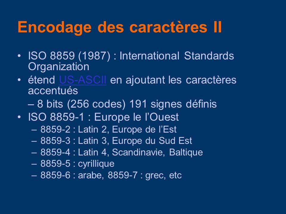 ISO 8859 (1987) : International Standards Organization étend US-ASCII en ajoutant les caractères accentuésUS-ASCII – 8 bits (256 codes) 191 signes définis ISO 8859-1 : Europe le lOuest –8859-2 : Latin 2, Europe de lEst –8859-3 : Latin 3, Europe du Sud Est –8859-4 : Latin 4, Scandinavie, Baltique –8859-5 : cyrillique –8859-6 : arabe, 8859-7 : grec, etc Encodage des caractères II