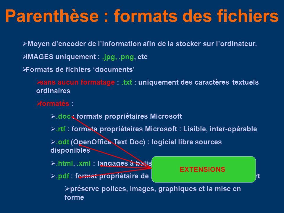 Parenthèse : formats des fichiers Moyen dencoder de linformation afin de la stocker sur lordinateur.