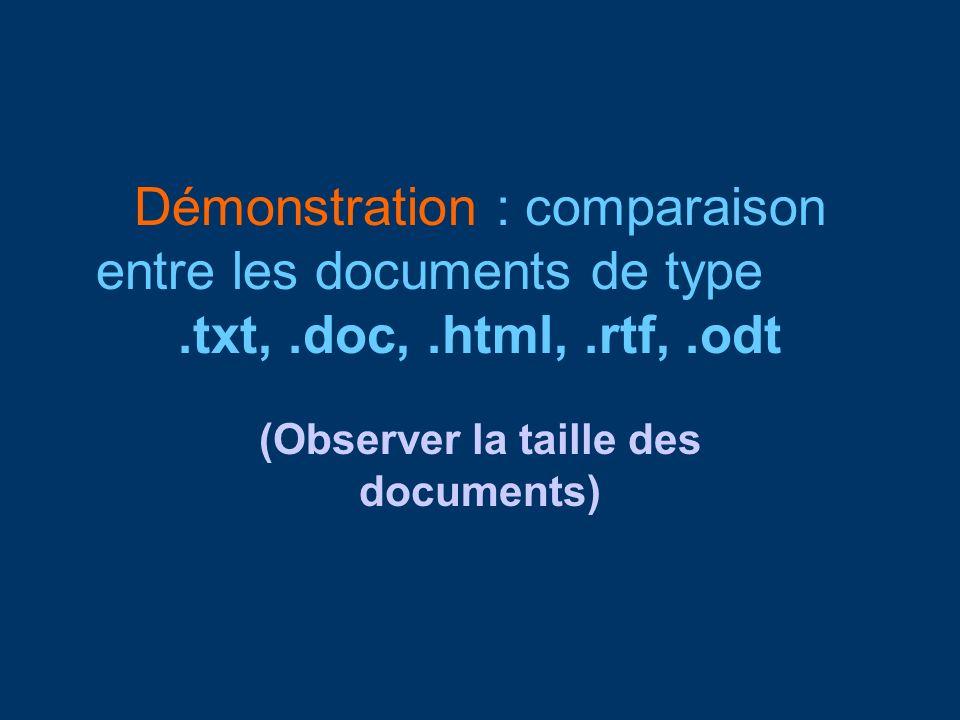 Démonstration : comparaison entre les documents de type.txt,.doc,.html,.rtf,.odt (Observer la taille des documents)