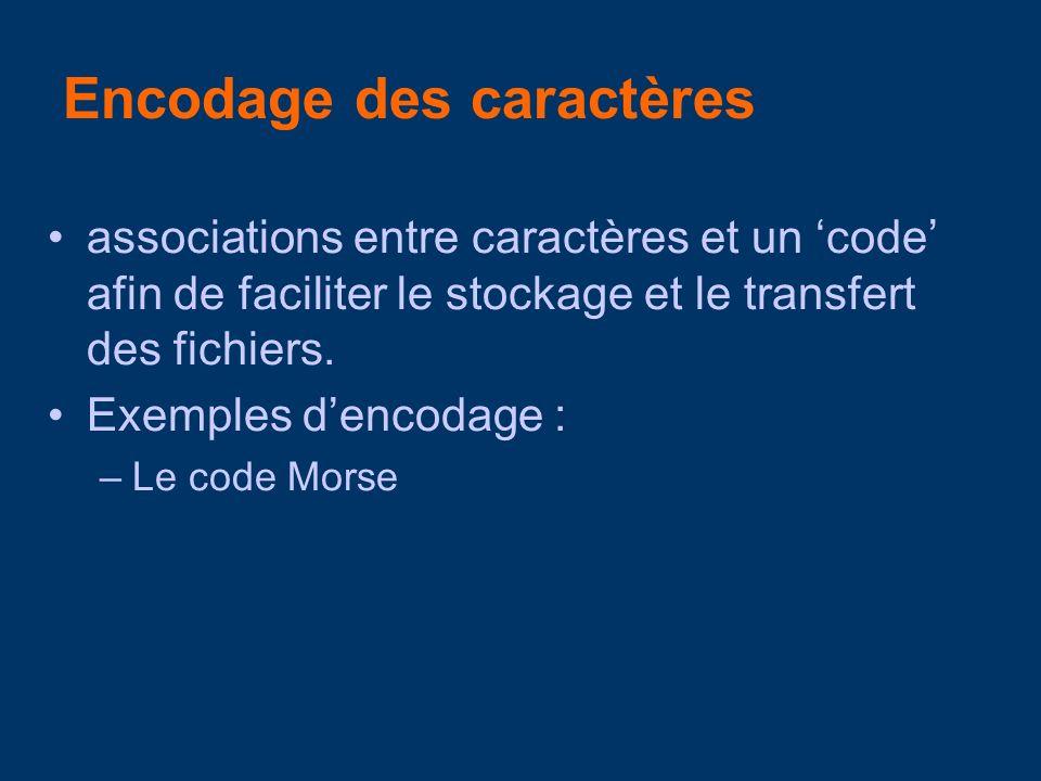 Encodage des caractères associations entre caractères et un code afin de faciliter le stockage et le transfert des fichiers.