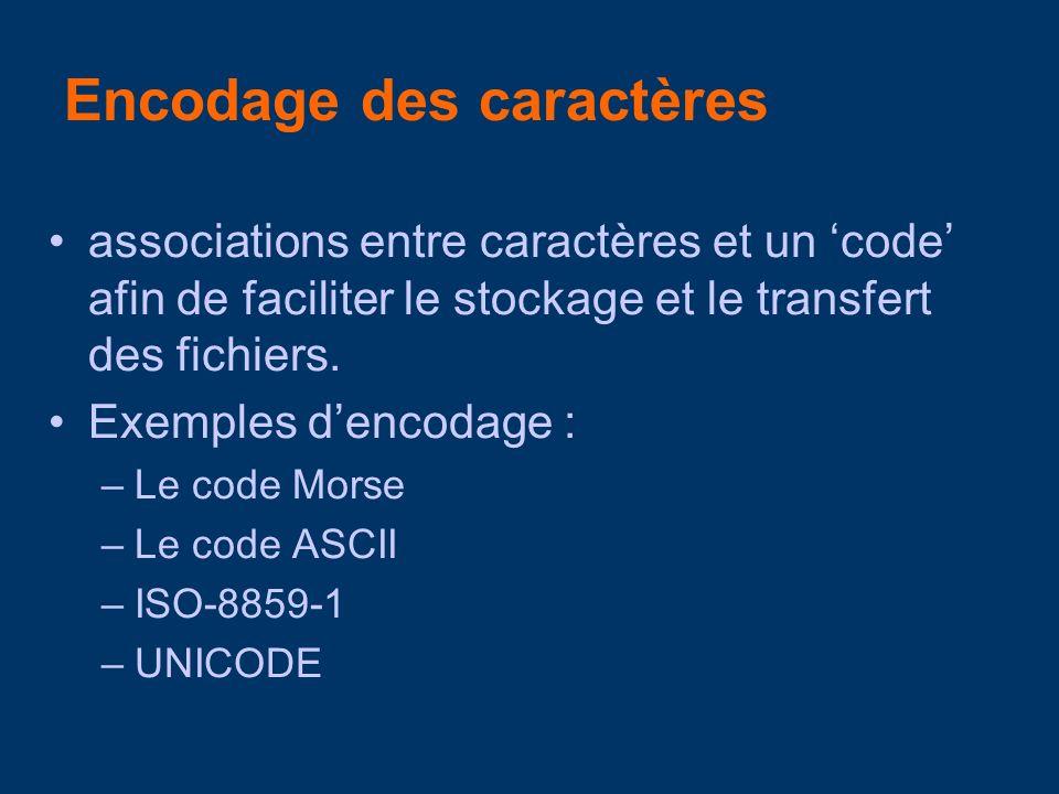 –US-ASCII (1967): American Standard Code of Information Interchange –Lettres (alphabète anglais), numéraux, ponct –7 bits (128 codes) 98 signes définis –Ex : A : 065, B : 066, C : 067 a : 097, b : 098, c : 099, etc.