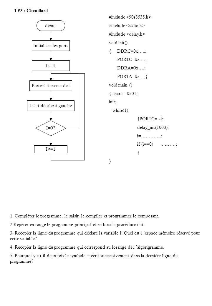 TP3 : Chenillard début Initialiser les ports I<=1 Portc<= inverse de i I<= i décaler à gauche I=0? I<=1 #include void init() { DDRC=0x…..; PORTC=0x …;