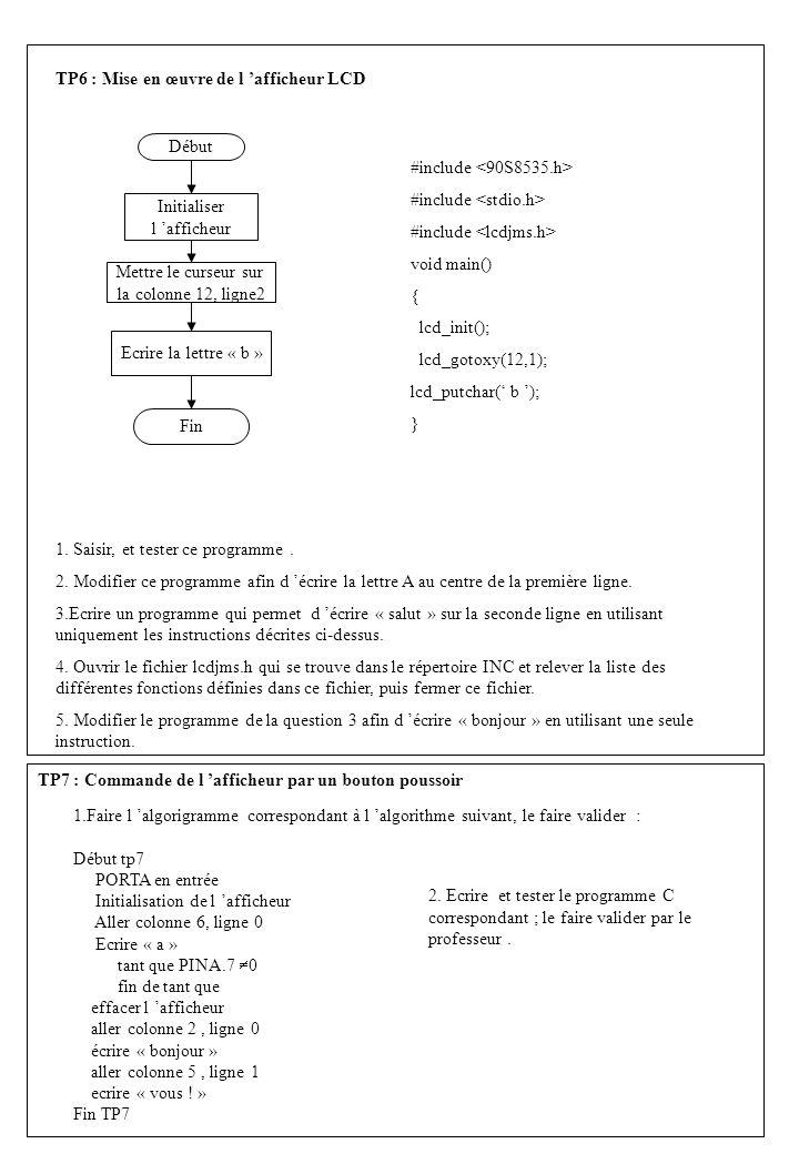 TP6 : Mise en œuvre de l afficheur LCD Début Initialiser l afficheur Mettre le curseur sur la colonne 12, ligne2 Ecrire la lettre « b » Fin #include v