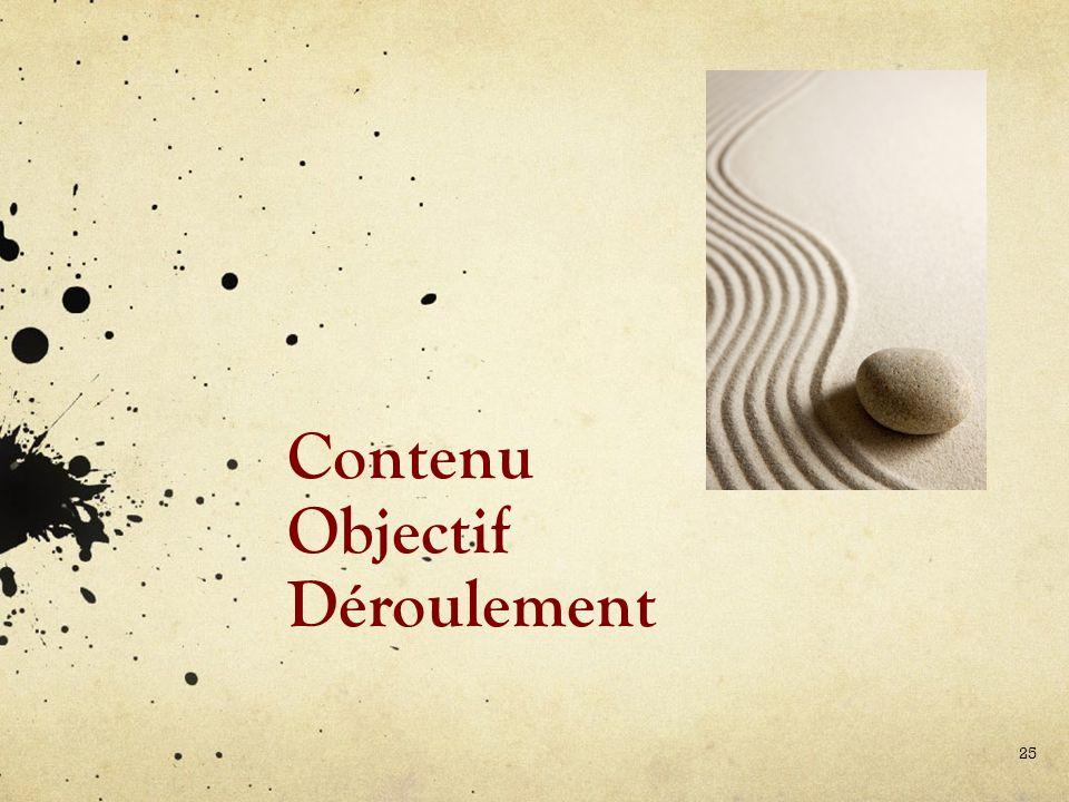 Contenu Objectif Déroulement 25