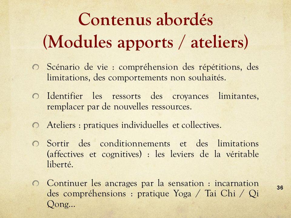 Contenus abordés (Modules apports / ateliers) Scénario de vie : compréhension des répétitions, des limitations, des comportements non souhaités.