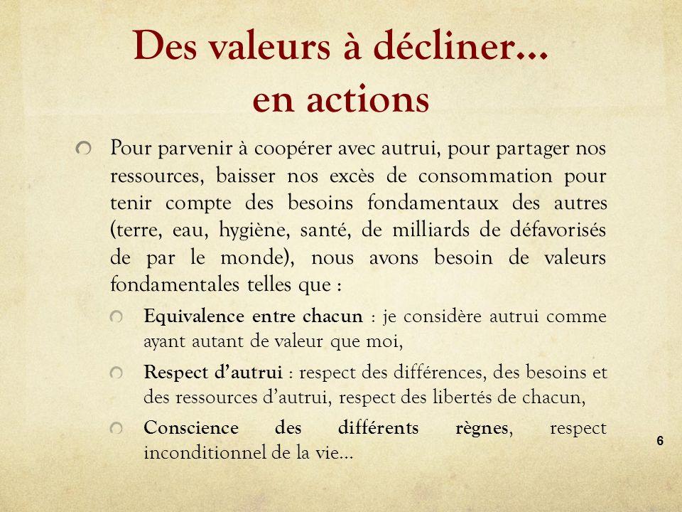 Des valeurs à décliner… en actions Pour parvenir à coopérer avec autrui, pour partager nos ressources, baisser nos excès de consommation pour tenir compte des besoins fondamentaux des autres (terre, eau, hygiène, santé, de milliards de défavorisés de par le monde), nous avons besoin de valeurs fondamentales telles que : Equivalence entre chacun : je considère autrui comme ayant autant de valeur que moi, Respect dautrui : respect des différences, des besoins et des ressources dautrui, respect des libertés de chacun, Conscience des différents règnes, respect inconditionnel de la vie… 6