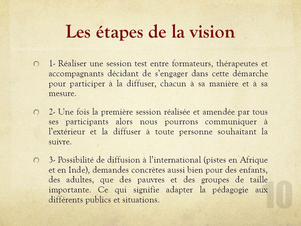 Les étapes de la vision 1- Réaliser une session test entre formateurs, thérapeutes et accompagnants décidant de sengager dans cette démarche pour participer à la diffuser, chacun à sa manière et à sa mesure.