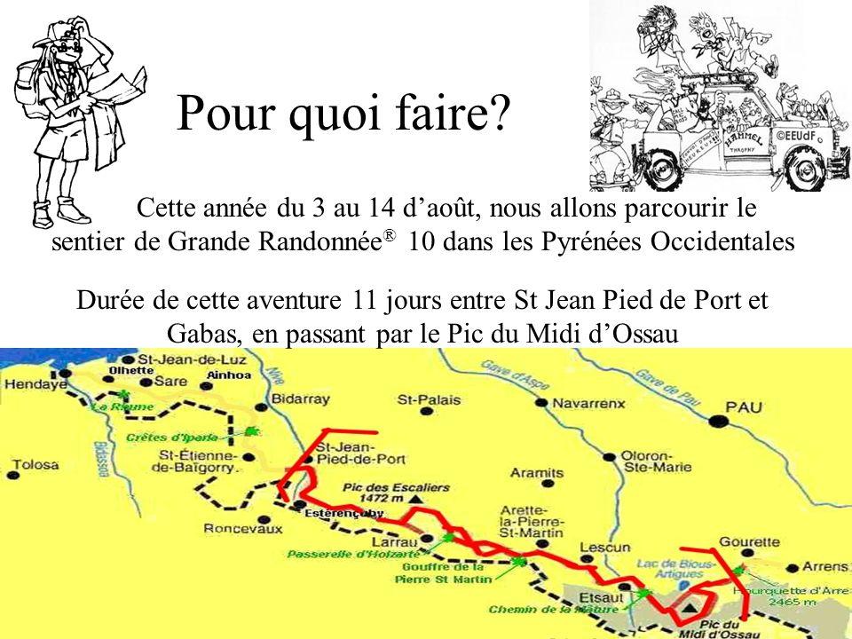 Pour quoi faire? Cette année du 3 au 14 daoût, nous allons parcourir le sentier de Grande Randonnée ® 10 dans les Pyrénées Occidentales Durée de cette