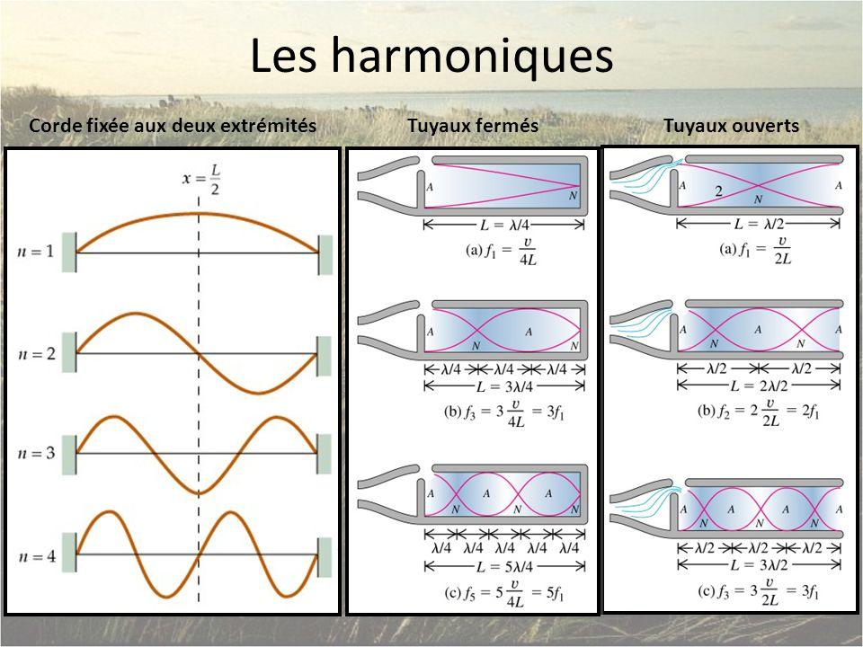 Les harmoniques Corde fixée aux deux extrémitésTuyaux fermésTuyaux ouverts