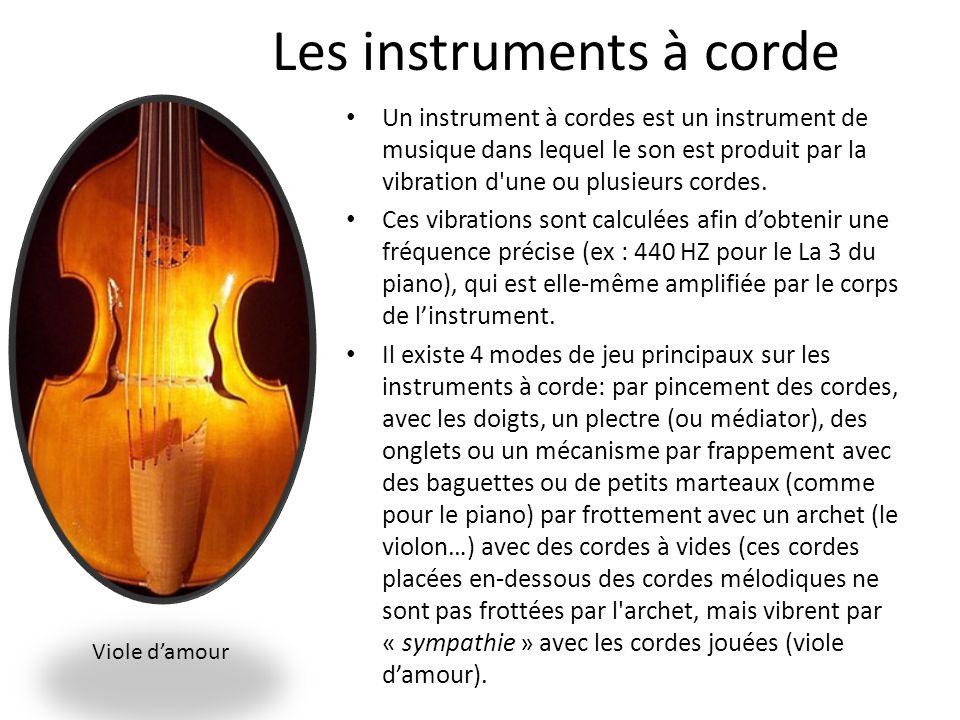 Les instruments à corde Un instrument à cordes est un instrument de musique dans lequel le son est produit par la vibration d'une ou plusieurs cordes.