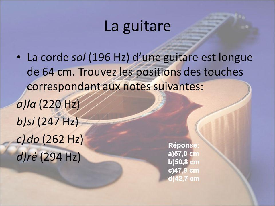 La guitare La corde sol (196 Hz) dune guitare est longue de 64 cm. Trouvez les positions des touches correspondant aux notes suivantes: a)la (220 Hz)