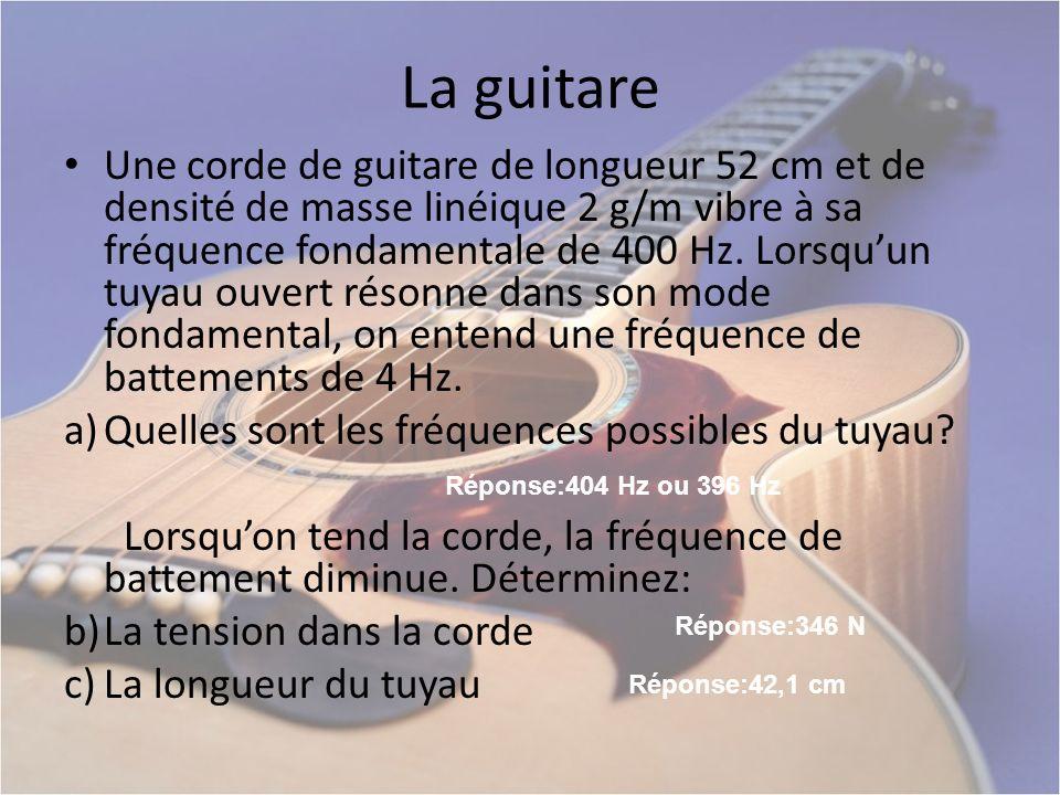 La guitare Une corde de guitare de longueur 52 cm et de densité de masse linéique 2 g/m vibre à sa fréquence fondamentale de 400 Hz. Lorsquun tuyau ou