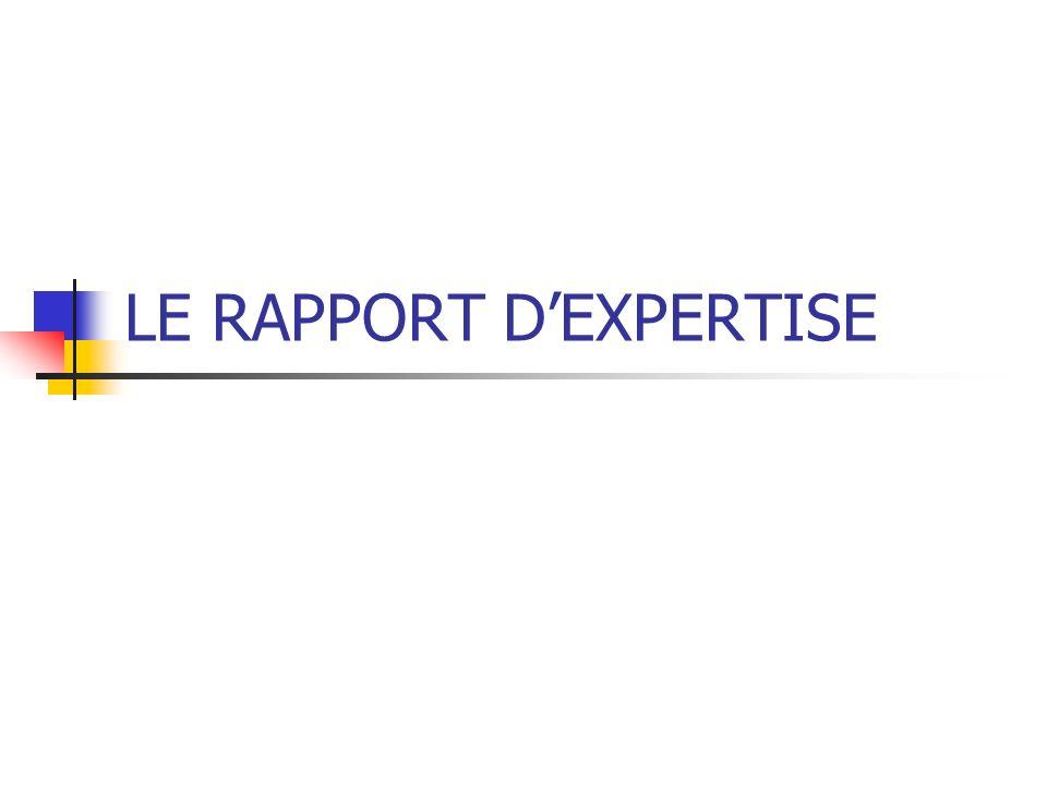 LE RAPPORT DEXPERTISE