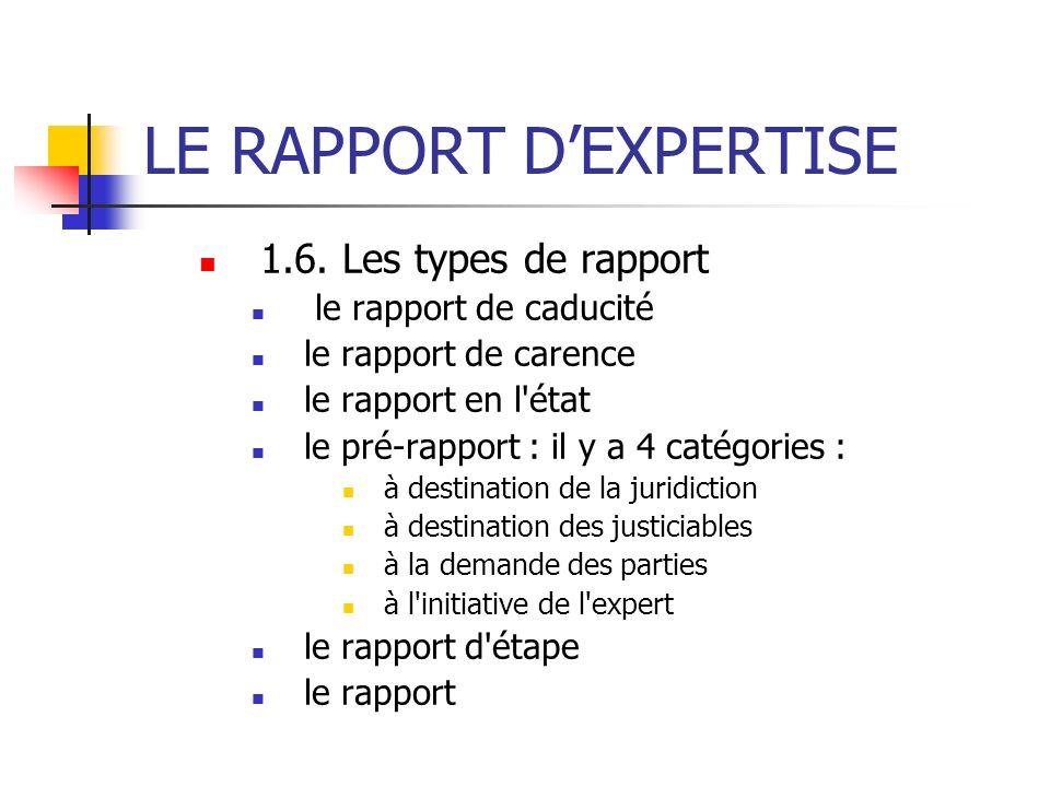 LE RAPPORT DEXPERTISE 1.6. Les types de rapport le rapport de caducité le rapport de carence le rapport en l'état le pré-rapport : il y a 4 catégories