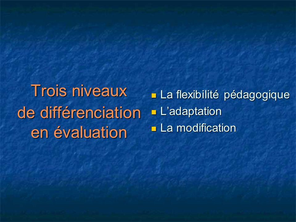 Trois niveaux de différenciation en évaluation La flexibilité pédagogique Ladaptation La modification