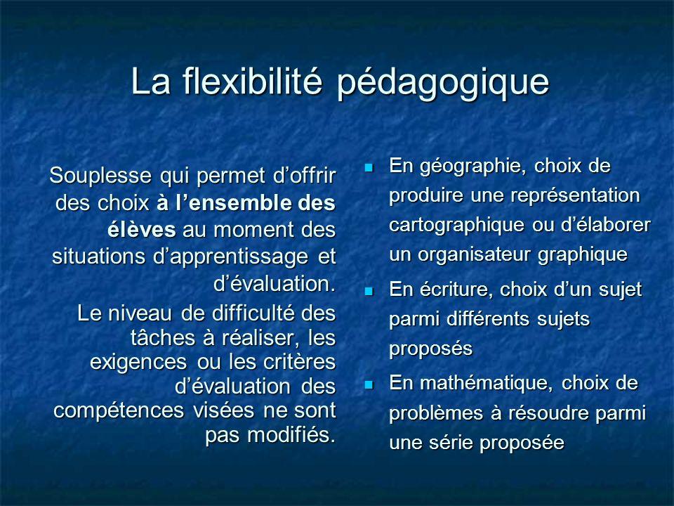 La flexibilité pédagogique Souplesse qui permet doffrir des choix à lensemble des élèves au moment des situations dapprentissage et dévaluation. Le ni