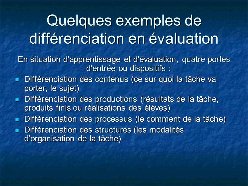 Quelques exemples de différenciation en évaluation En situation dapprentissage et dévaluation, quatre portes dentrée ou dispositifs : Différenciation