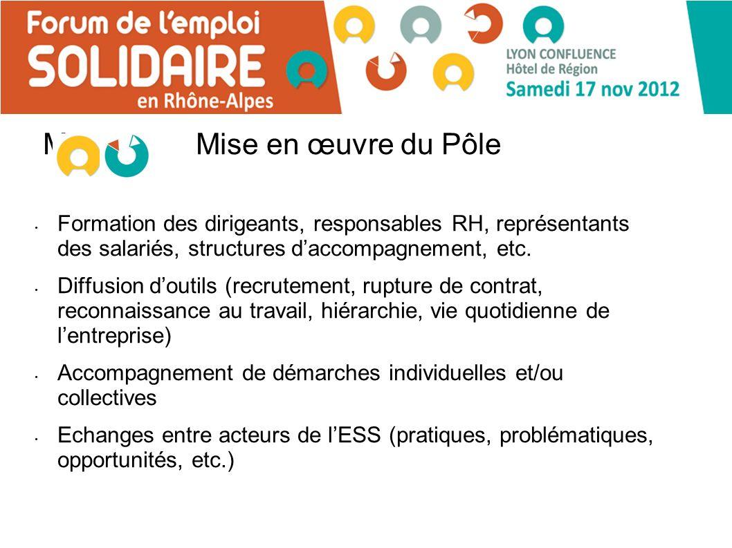 MMise en œuvre du Pôle Formation des dirigeants, responsables RH, représentants des salariés, structures daccompagnement, etc.