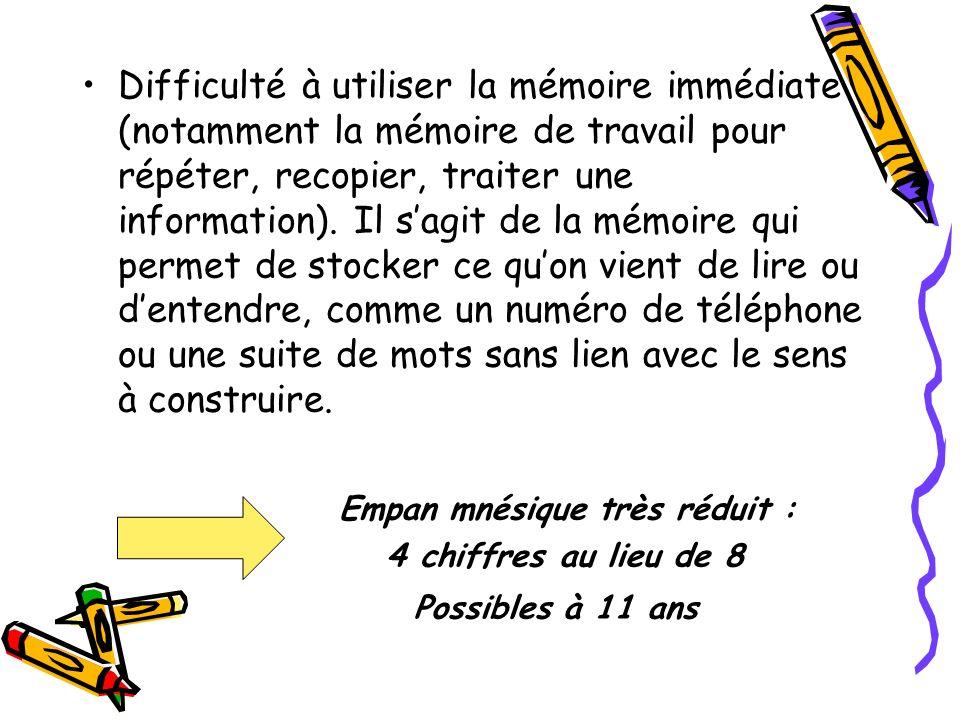 Comment un enfant est-il mis en difficulté ? Difficulté dorganisation personnelle (cartable, trousse…) Difficulté de concentration en milieu bruyant T
