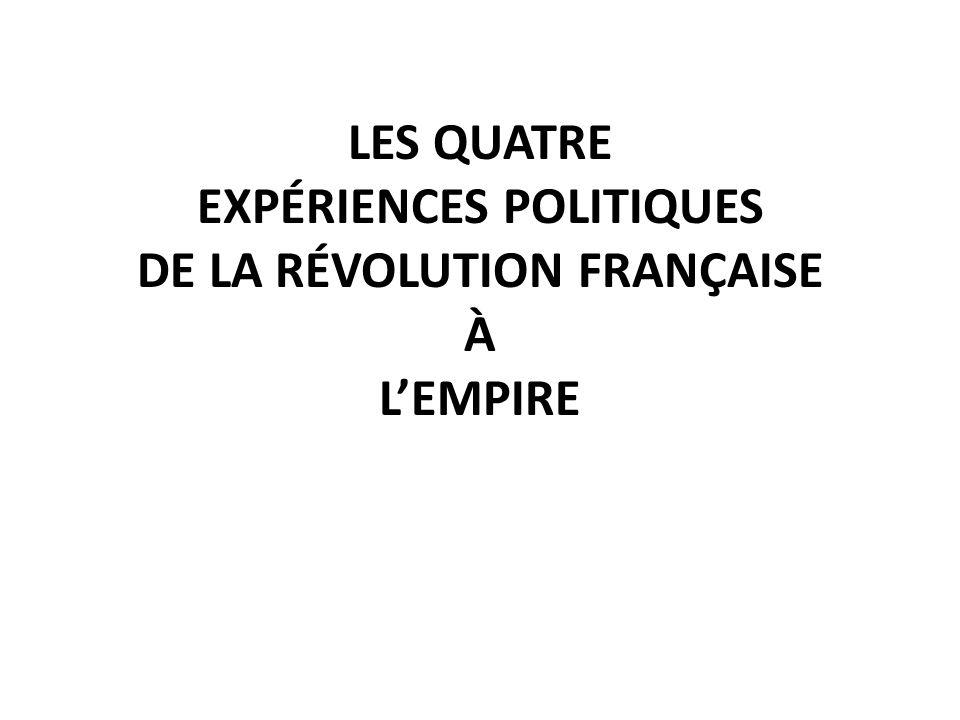 LES QUATRE EXPÉRIENCES POLITIQUES DE LA RÉVOLUTION FRANÇAISE À LEMPIRE