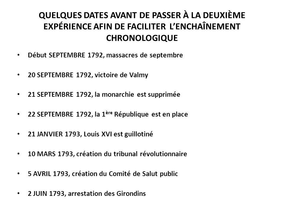 QUELQUES DATES AVANT DE PASSER À LA DEUXIÈME EXPÉRIENCE AFIN DE FACILITER LENCHAÎNEMENT CHRONOLOGIQUE Début SEPTEMBRE 1792, massacres de septembre 20