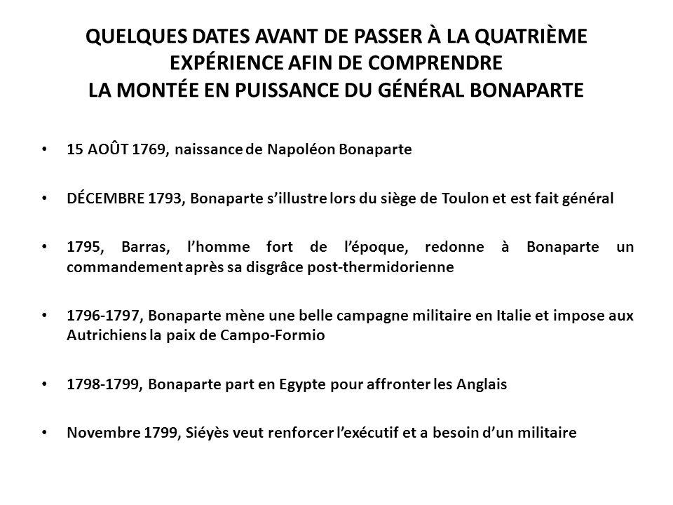 QUELQUES DATES AVANT DE PASSER À LA QUATRIÈME EXPÉRIENCE AFIN DE COMPRENDRE LA MONTÉE EN PUISSANCE DU GÉNÉRAL BONAPARTE 15 AOÛT 1769, naissance de Nap