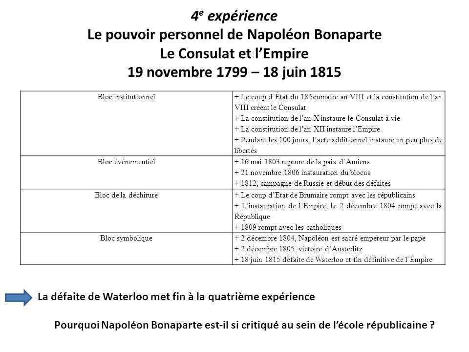 4 e expérience Le pouvoir personnel de Napoléon Bonaparte Le Consulat et lEmpire 19 novembre 1799 – 18 juin 1815 Bloc institutionnel + Le coup dÉtat d