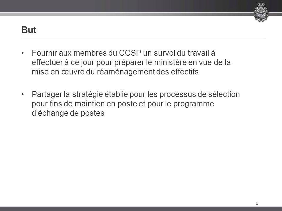 2 But Fournir aux membres du CCSP un survol du travail à effectuer à ce jour pour préparer le ministère en vue de la mise en œuvre du réaménagement des effectifs Partager la stratégie établie pour les processus de sélection pour fins de maintien en poste et pour le programme déchange de postes