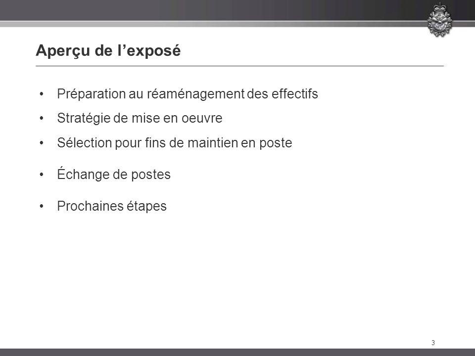 3 Aperçu de lexposé Préparation au réaménagement des effectifs Stratégie de mise en oeuvre Sélection pour fins de maintien en poste Échange de postes Prochaines étapes