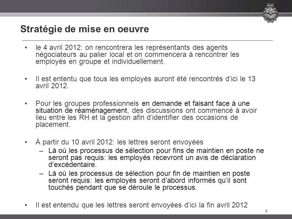 6 Stratégie de mise en oeuvre le 4 avril 2012: on rencontrera les représentants des agents négociateurs au palier local et on commencera à rencontrer les employés en groupe et individuellement.