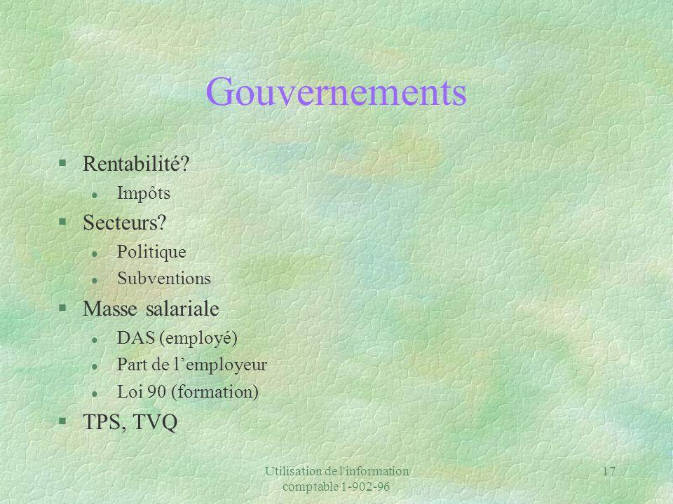 Utilisation de l'information comptable 1-902-96 17 Gouvernements §Rentabilité? l Impôts §Secteurs? l Politique l Subventions §Masse salariale l DAS (e