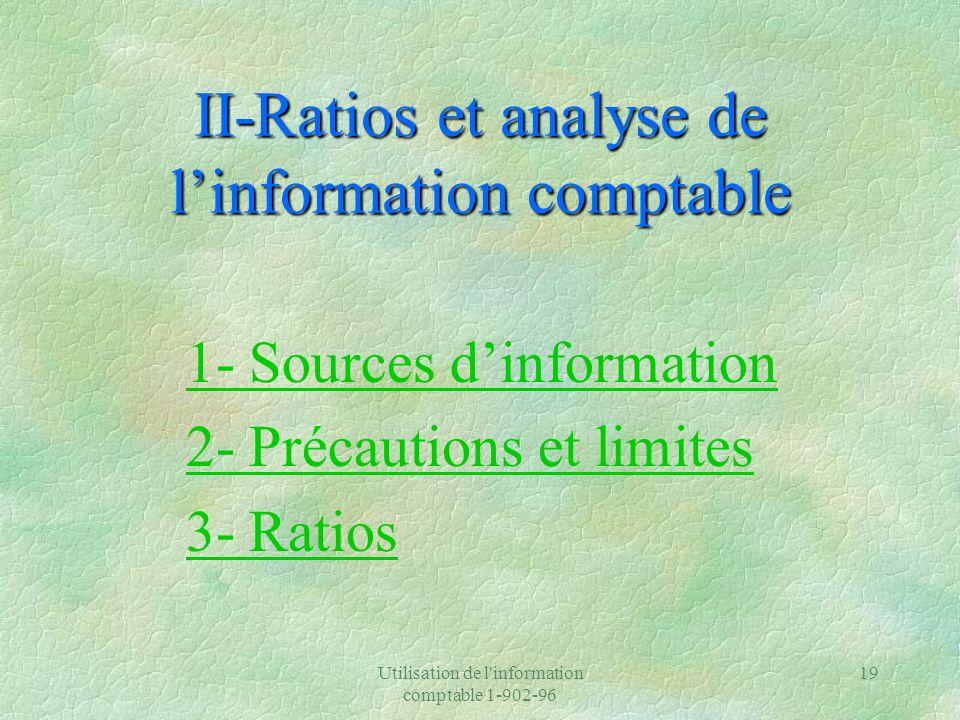 Utilisation de l information comptable 1-902-96 19 II-Ratios et analyse de linformation comptable 1- Sources dinformation 2- Précautions et limites 3- Ratios
