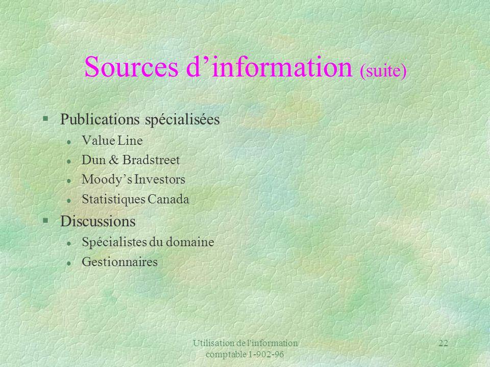 Utilisation de l information comptable 1-902-96 22 Sources dinformation (suite) §Publications spécialisées l Value Line l Dun & Bradstreet l Moodys Investors l Statistiques Canada §Discussions l Spécialistes du domaine l Gestionnaires