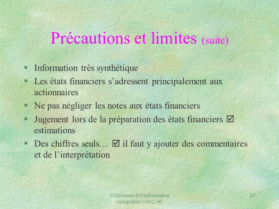 Utilisation de l'information comptable 1-902-96 25 Précautions et limites (suite) §Information très synthétique §Les états financiers sadressent princ