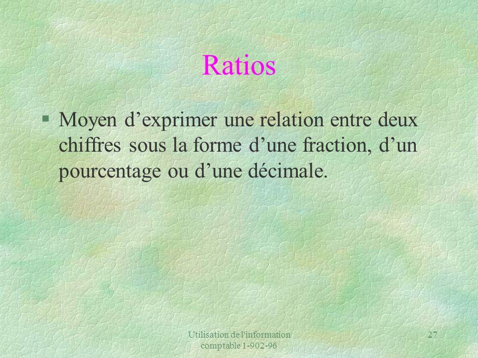 Utilisation de l'information comptable 1-902-96 27 Ratios §Moyen dexprimer une relation entre deux chiffres sous la forme dune fraction, dun pourcenta