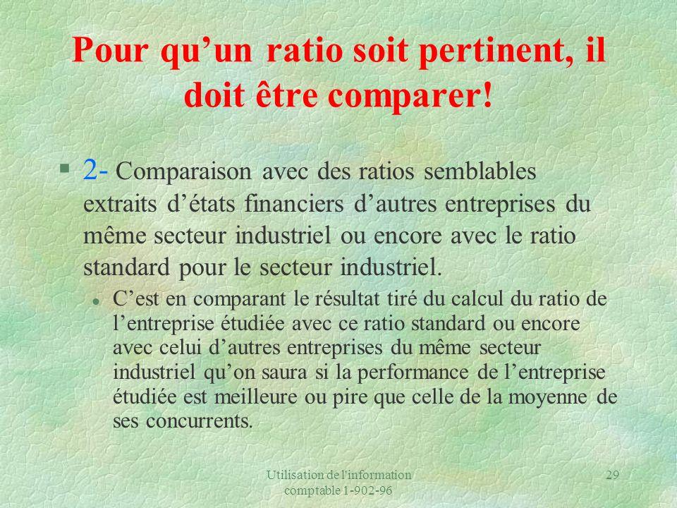 Utilisation de l'information comptable 1-902-96 29 Pour quun ratio soit pertinent, il doit être comparer! §2- Comparaison avec des ratios semblables e