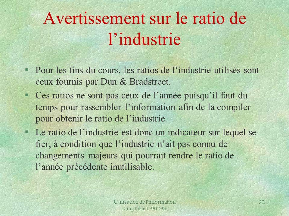 Utilisation de l information comptable 1-902-96 30 Avertissement sur le ratio de lindustrie §Pour les fins du cours, les ratios de lindustrie utilisés sont ceux fournis par Dun & Bradstreet.