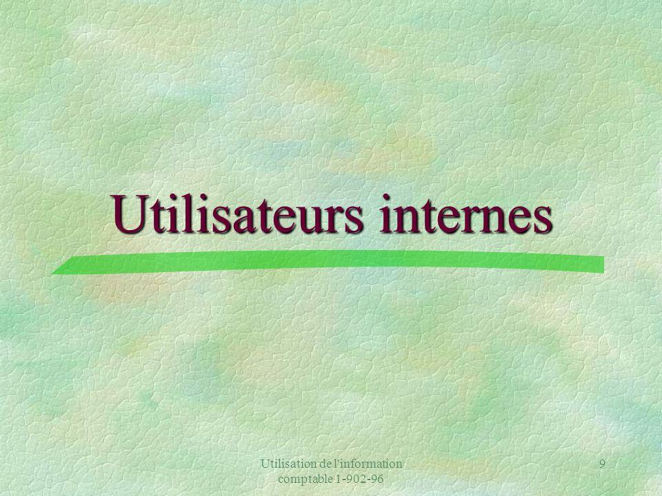 Utilisation de l information comptable 1-902-96 9 Utilisateurs internes