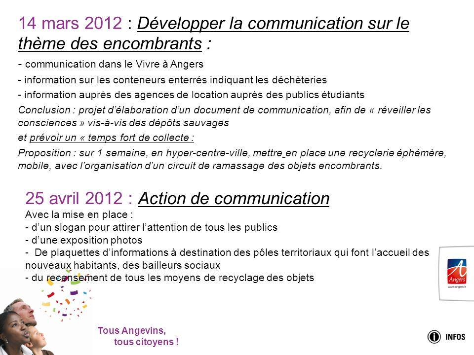 Tous Angevins, tous citoyens ! 14 mars 2012 : Développer la communication sur le thème des encombrants : - communication dans le Vivre à Angers - info
