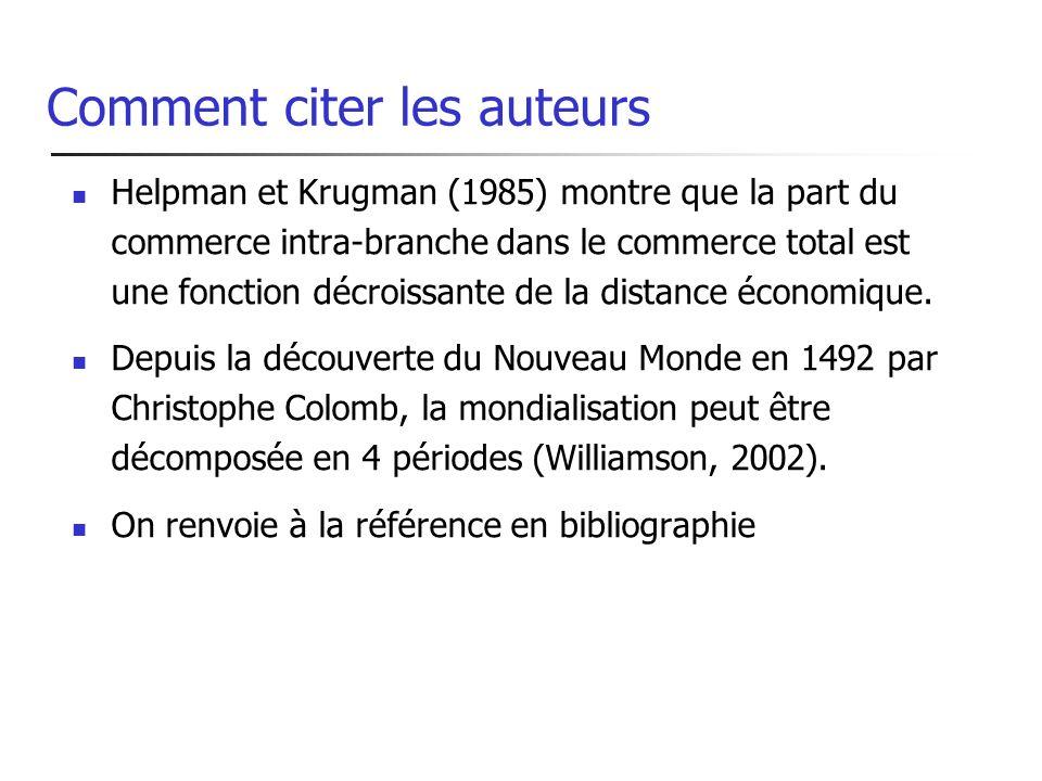 Comment citer les auteurs Helpman et Krugman (1985) montre que la part du commerce intra-branche dans le commerce total est une fonction décroissante