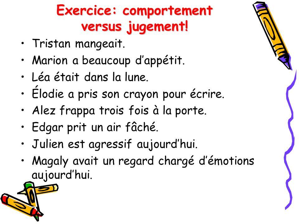 Exercice: comportement versus jugement.Tristan mangeait.