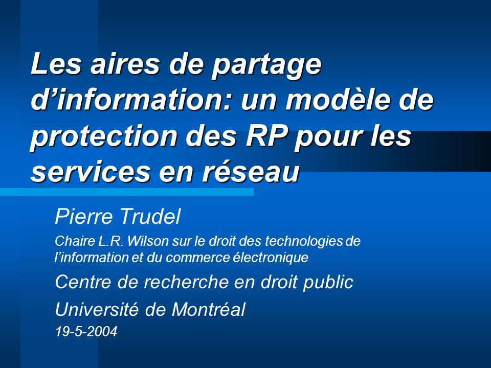 Les aires de partage dinformation: un modèle de protection des RP pour les services en réseau Pierre Trudel Chaire L.R.