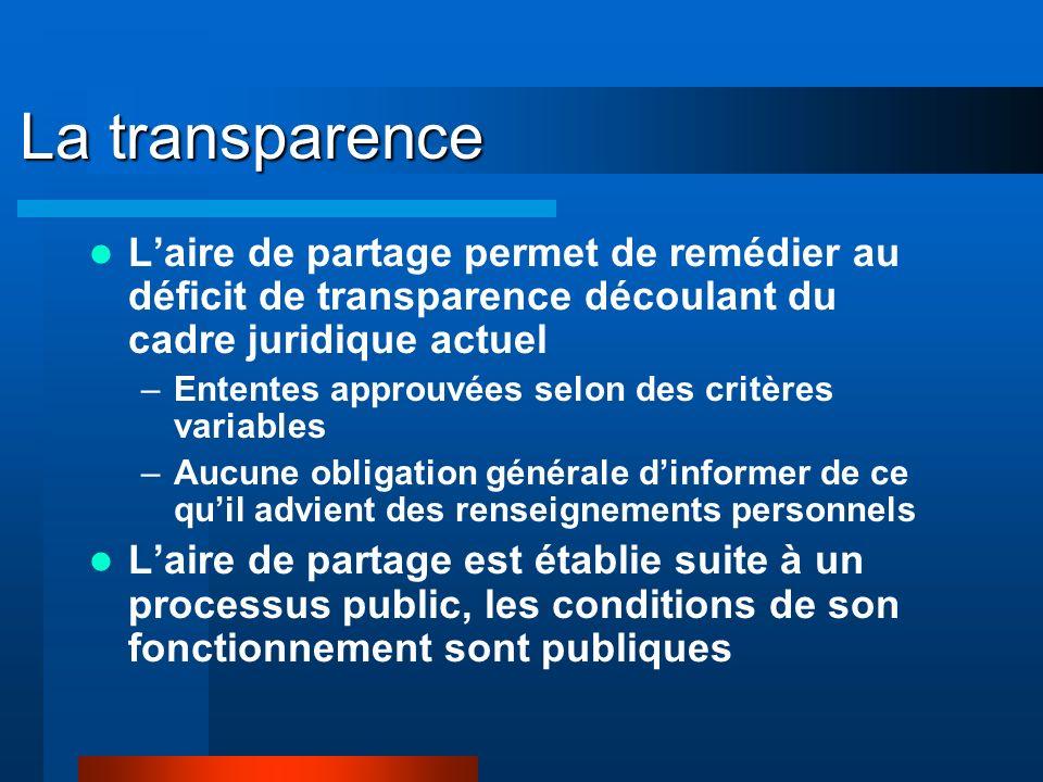 La transparence Laire de partage permet de remédier au déficit de transparence découlant du cadre juridique actuel –Ententes approuvées selon des critères variables –Aucune obligation générale dinformer de ce quil advient des renseignements personnels Laire de partage est établie suite à un processus public, les conditions de son fonctionnement sont publiques